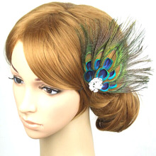 Fashion 2017 headband Women Lady Peacock Feather women party Hair Clip Pin Head Hairpin top sale for girl hair accessories #48
