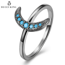Fashion Black Gun Color Ring Female Trendy Vintage Small Kallaite Stone Turquoises Gold Moon Rings For Women Jewelry Party Gifts(China)