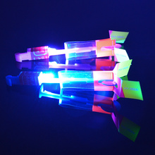 Hot sale 12Pcs Amazing LED Light Arrow Rocket Helicopter Flying Toy LED Light Flash Toys baby Toys Party Fun Gift Xmas Outdoor(China)