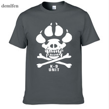 K-9 Special Unit Police Dog Foot Canine Men Casual T Shirts Summer Short Sleeve 100% Cotton T-shirt Cool Skull Tops Tees(China)