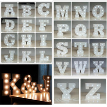2pcs/lot Home Decor Figurines White Wooden Letter LED Alphabet Night Light Indoor WALL Decor Wedding Party Display Light
