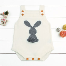 CANIS Brand Cute Knitting Romper Baby Boy Girl Bunny Knitting Cotton Romper Sleeveless Jumpsuit Outfit 0-24M(China)