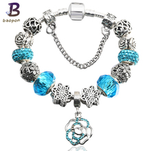 Buy BAOPON Rose Charms Crystal Pandora Bracelets Women Murano Beads Charm Bracelets & Bangles Pulseras Mujer BR200 for $2.99 in AliExpress store