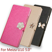 Luxury flip PU Leather back cover case for Meizu U10 5.0'' mobile phone case new fashion with three kinds of diamond buckle U10