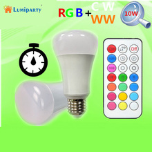 Lumiparty 10W 900LM E27 LED RGBW Color Change Light Bulb with 21Keys Infrared Remote Controller LED Bulbs