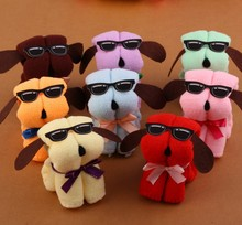 10pcs / Lot Serviette De Plage Microfiber Towel New Dog Cake Shape + Sun Glasses Towel Cotton Washcloth Wedding Gifts K531