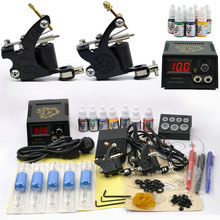 Professional Tattoo Set 2 Tatoo Guns 7 Color Inks tattoo kit complete machine rotary Power Supply body art for beginner cheap(China)