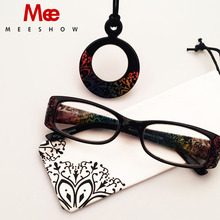 Summer fashion Lady reading glasses with necklace colorful temple Rhinestone reader Diamonds Flower eyeglasses with pouch 759(China)