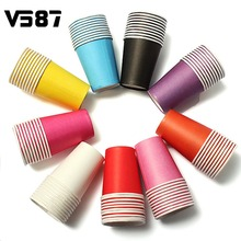 10Pcs/Lot Candy Colors Paper Solid Party Events Catering Food Tableware Drinkware Home Canteen Bottle Drinking Tools(China)
