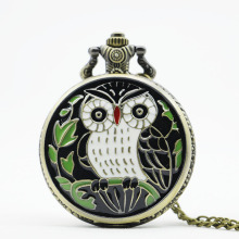 PB089 High Quality Vintage Classic New Bronze Colorful Enamel Owl Pocket Watch Necklace With Chain