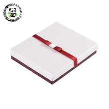 20pcs/lot 16x13x3cm Cuboid Jewelry Set Boxes White Cardboard Gift Boxes with Sponge and Ribbon(China)