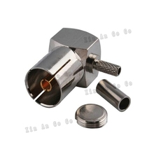 New RCA female crimp RF Coxial connector RCA TV female Plug right angle Crimp for RG316 RG174 LMR100 coaxial cable fast ship