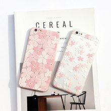 For iPhone 6 6s 7 7Plus Case Pink Flower 3D Relief Silicone Cases Cover For iPhone 6 s 6Plus 7 Plus Soft TPU Capinha Coque Capa