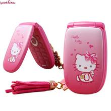 Flip Unlocked Cell Phone W88 Vibration 1.8'' pretty Flashlight Small Woman Kid Girl Cute Hello Kitty Cartoon Mobile KUH