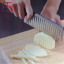 1Pc Stainless Steel Potato Wavy Edged Knife Gadget Vegetable Fruit Potato Slicer Cutter Peeler Cooking Tools Kitchen Accessories