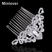 Minlover Silver Color Crystal Wedding Hair Accessories Bridal Comb for Women Silver Color Rhinestones Hair Jewelry MFS132
