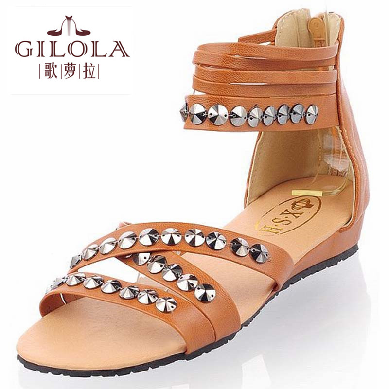 2016 new flat womens sandals ladies party rivets spring women sandals summer shoes woman shoes #Y0569209F<br><br>Aliexpress