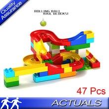 47 Pcs Compatible Lego Duplo Run Rolling Ball Rail Building Blocks Enlighten Learning Early Education Bricks Kids Toys Gift