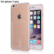 TPU Case For iPhone 7plus Ultrathin Clear Soft Sillicone with Card Slot Case for iphone 7 plus 5.5inch Transparent Phone Cover