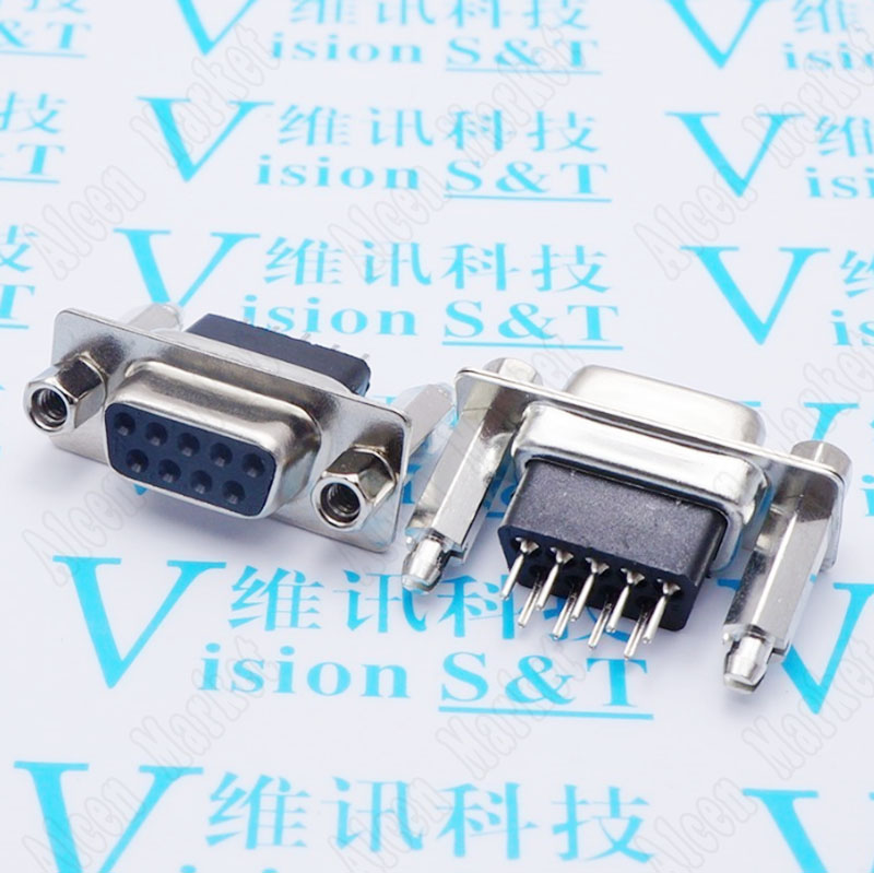 50pcs-500pcs Straight Pin Female Connector DB9 DR9 Plugboard Type Lengthened Heightened DP9 Socket RS232 Interface Riveting Lock<br>