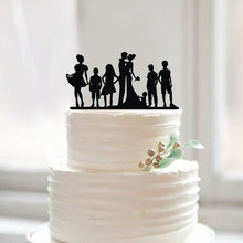 Family Members Silhouette Wedding Cake Topper Personalized Bride and Groom Cake Toppers Modern Wedding Party Decoration Mariage