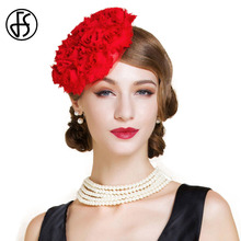 FS  British Style Female Red Flower Pillbox Hat For Women Fashion Linen Banquet Fedora Ladies Wedding Hats
