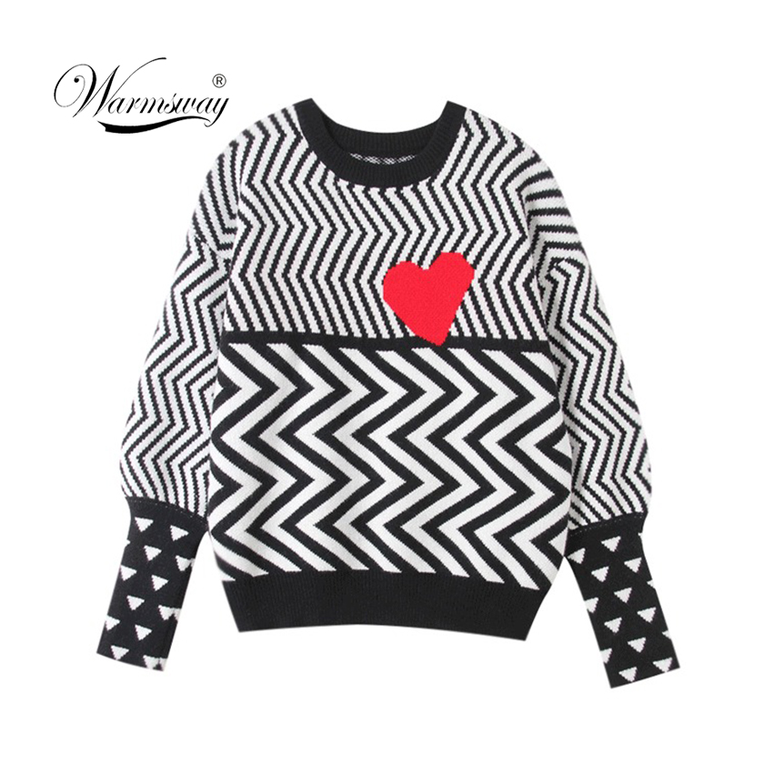 2019 Autumn Winter Women Sweaters Geometric Heart Pattern Long Sleeve Tops Lovely Pullovers Knitted Loose Sweaters Tops C-005