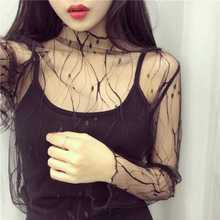 2017 New  Fashion Spring Summer Women Blouse Vintage Sexy Black Mesh Shirts Transparent Lace O-Neck Long Sleeve Bottoming Shirt