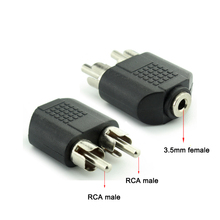 Double RCA AV plug convert 3.5mm 1/8'' jack adapters male to female Audio wire connector for speaker DVD transmitter