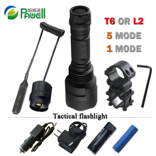 XM L2 powerful led tactical flashlight torch charging CREE XML T6 portable light hunting18650 Rechargeable battery Waterproof c8