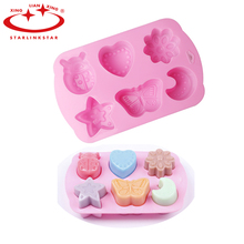 Silicone cake mold chocolate moulds jelly pudding molds  6 grooves Insects Butterfly Moon Star Shaped Ice Cube Soap Decorating