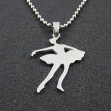 High Quality Women Necklace Stainless Steel Ballet Dancer Pendant Necklace For Girls Stainless Steel Jewelry Christmas Gift