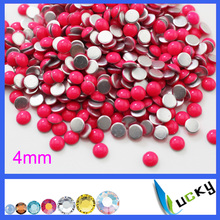 4mm round shape rose color hot sell hotfix epoxy flatback pearl rhinestone perfect look