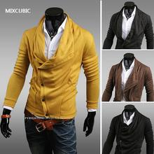 MIXCUBIC arrival Unique asymmetric Heaps Collar mens cardigan sweater men casual knitting cardigan for men,freeshipping ,M-XXL,