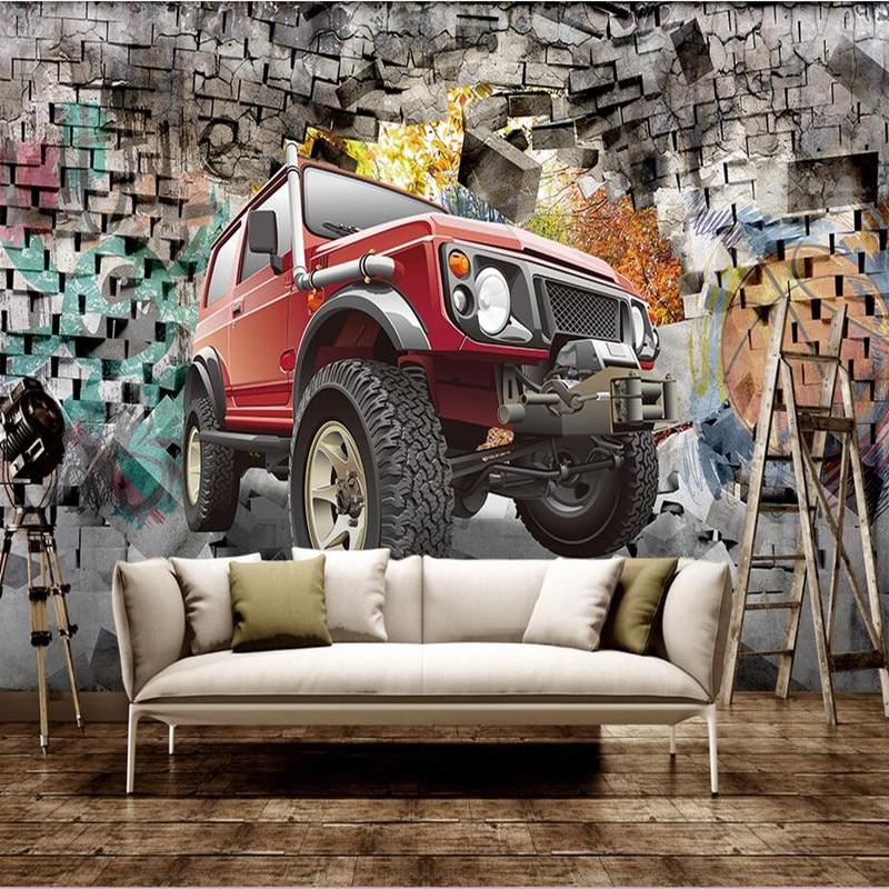 Custom 3D Wall Murals Wallpaper Car Off-Road Vehicle 3D Stereoscopic Wallpaper Living Room Bar Restaurant Coffee Shop Wallpapers<br>