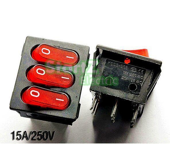 5PCS Triple ship type switch  power switch red 9 pin 15A/250V 5<br><br>Aliexpress