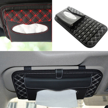 siparnuo Good Quality portable organizer fashion car sun visor type hanging car tissue boxes CD napkin holder case(China)