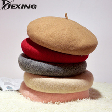 [Dexing]2017 good quality Solid Color Warm Wool Winter Women Girl Beret Hat French Artist Hat Ski Cap For Female(China)