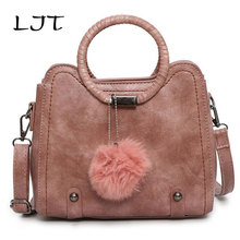 LJT 2017 Autumn Winter Solid PU Leather Woman Bag Luxury Handbags Casual Rivet Tassel Ring Handle Shoulder Bag Portable Tote Bag(China)