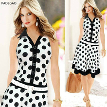 2017 Summer Women Dress Sleeveless Lapel Dots Are Thin Dress Big Vintage Dress Waistline Natural Casual(China)