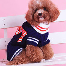 BENMEI Dog Clothes Cat Knit Sweater Kitten Puppy Coat Classic Sweatshirt Knitwear Pet Autumn Winter Clothes Apparel With Bow(China)