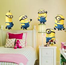 minions wall stickers for kids rooms  decorative wall art removable pvc cartoon wall decal free shipping