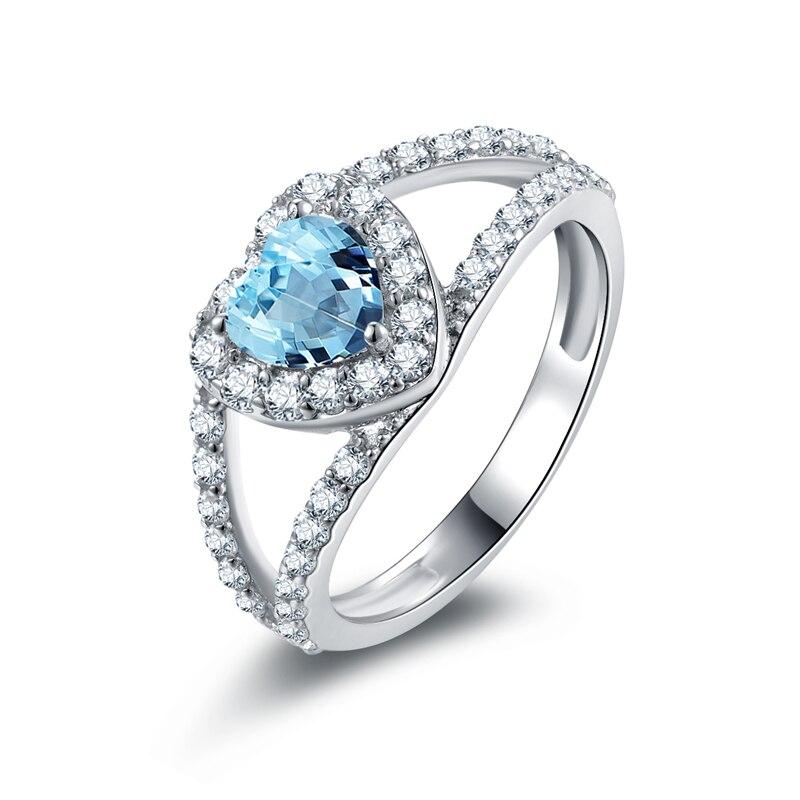 2019 Ainuoshi Natural Blue Topaz Heart Ring Engagement Wedding Ring