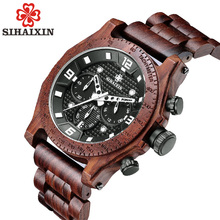 Buy handmade role luxury brand wood watch sport clock quartz watches men's hand auto date function military watch waterproof 2018 for $37.99 in AliExpress store