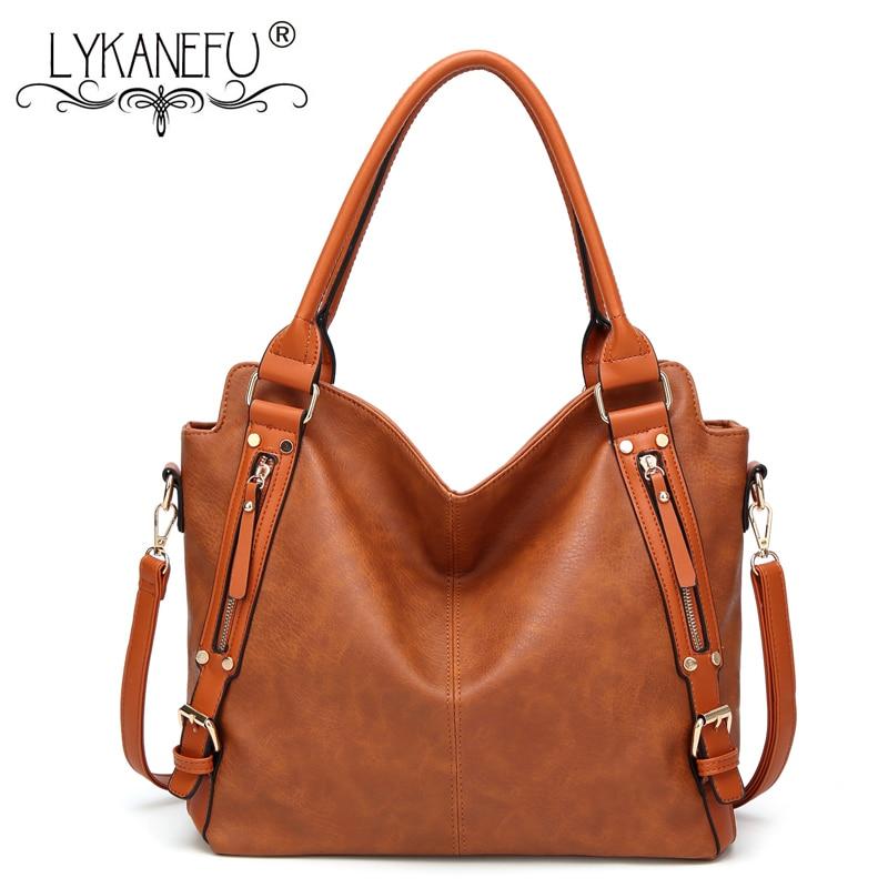 LYKANEFU Hobo Shoulder Bags Vintage Style Women Bag Large Women Handbag PU Leather Handbags Designer High Quality Tote Purse<br>