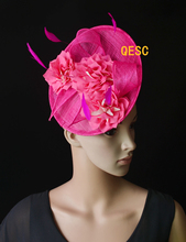 NEW Hot pink big sinamay fascinator hat silk flower fascinator  formal hat  for Tea Garden party Royal Races Kentucky derby.