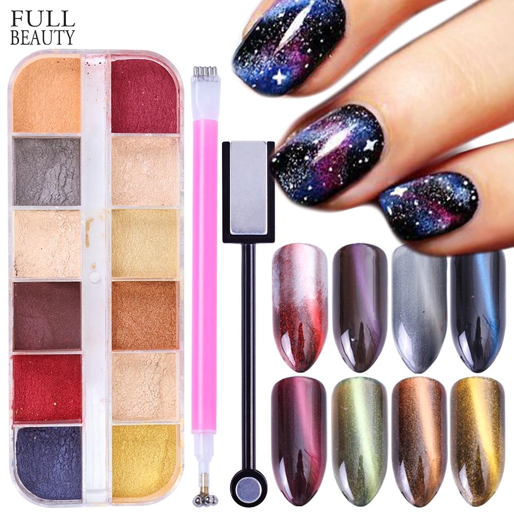 1 Pcs 12 Farbe Nagel Spiegel Glitter Pulver Pigment Staub 3d Katze Auge Wirkung Magnet Pulver Glänzende Maniküre Nail Art Decor La813 Schönheit & Gesundheit Nails Art & Werkzeuge