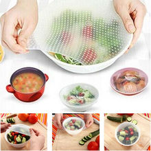 4 pcs High qualtiy Silicone Wrap Seal Cover Stretch Cling Film Food Fresh Kitchen Tools Useful tapas silicona cocina(China)