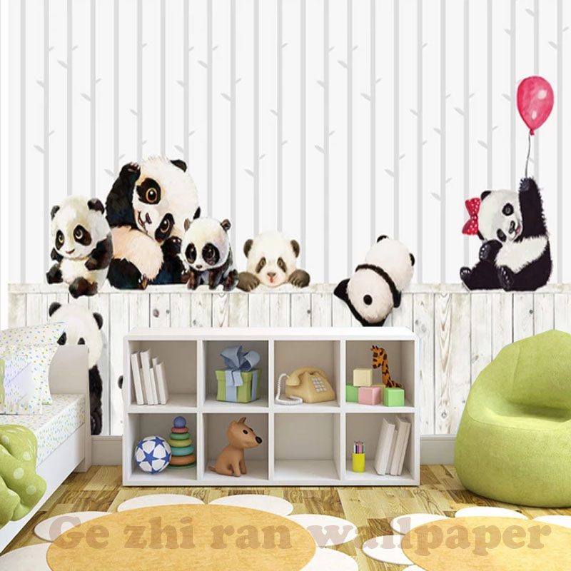 HTB1XFanpAKWBuNjy1zjq6AOypXaV - Custom 3D Cartoon Lovely Panda Mural Wallpaper For children Room
