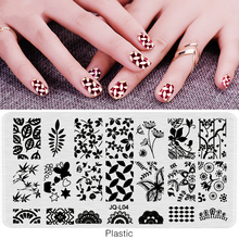SJQL-Nail Stamping Plate Plastic Nails Art Stamp Plastic Templates for Nail Gel Polish Nail Art Tools Manicure